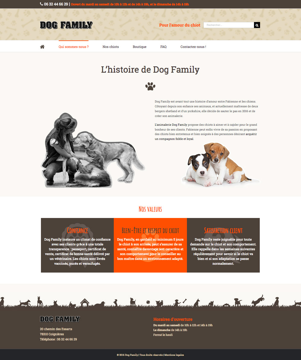 Site internet Animalerie chiots